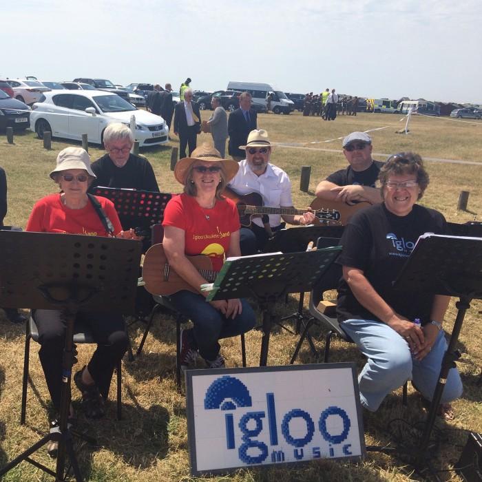 The Big Igloo Band playing for Prince Charles and the Cockleshell Heroes